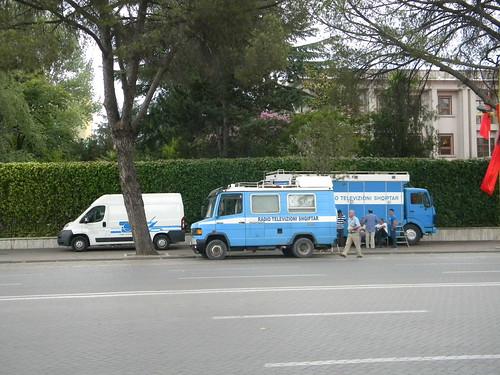 Albanian television crew in Tiranë