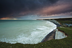 Storm clouds over Seven Sisters (JamboEastbourne) Tags: park sunset england cliff storm sisters downs sussex chalk south east national seven surfers