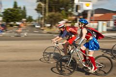 Sydney to Wollongong Ride 2 (Mariasme) Tags: motion bike race clothing movement bicycles motionblur wonderwoman superhero panning ramsgatebeach thegrandparade standingoutfromthecrowd friendlychallenges pregamesweepwinner sydneytowollongong lostamatch