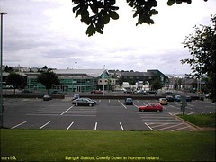 Bangor.- The Train Station ' bus and rail ' in County Down, Northern Ireland. (mrvisk) Tags: railway transport car park old irish history co pic translink nir 1990s skyline ulster sunday buildings grassland