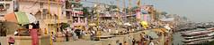 Pano Ghaths (Dick Verton ( more than 13.000.000 visitors )) Tags: travel people panorama india river boats asia view streetlife streetscene varanasi streetview ganges ghats cityview streetshot dickverton