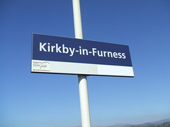 Sign for the Railway Station at Kirkby-in-Furness. (Bennydorm) Tags: blue england sign rail railway railwaystation cumbria signage information kirkby furness kirkbyinfurness
