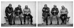 """Say what?"" ""Bah, humbug!"" (Canadapt) Tags: bw men portugal cane bench diptych sitting sintra elders brochure canadapt"