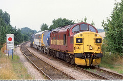37114_37308GB_Saxmundham_050803 (Catcliffe Demon) Tags: uk tractor suffolk coco railways ee esl railtrack weedkiller englishelectric ews eastsuffolkline eetype3 class370 ukrailimages2003 englishwelshscottishrailway