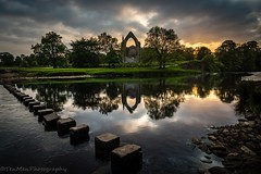 Stepping Stone Sunset (jasonmgabriel) Tags: sunset reflection building tree water abbey clouds river landscape religious scenery arch stones ruin pebbles stepping bolton wharfe