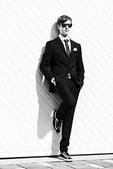 Jan I (Christian Doelz Fotografie) Tags: bw bayern deutschland cool wand hose shooting mann brille tor augen kontrast stein weiss schuhe blick nase schwarz sonnenbrille junge beine jacke hnde krawatte anzug haare kopf ohren tasche bauch hemd weis knpfe arme sehen hosentasche ktz