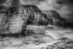 Coast (gerainte1) Tags: sea blackandwhite mono coast waves doubleexposure yorkshire shore icm