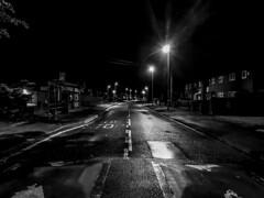 TO US! - Where the streets have no name - HSS! (The Mad Macrographer) Tags: uk blackandwhite monochrome night streetlights streetphotography busstop peterborough hss sliderssundaypostprocessedtothemax nikkvalentine samsunggalaxys7edge