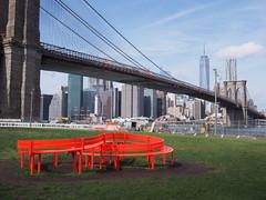 (procrast8) Tags: world new york city nyc bridge sculpture ny art brooklyn river one manhattan center east lower trade
