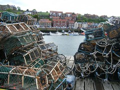 Whitby North Yorkshire lobster pots at harbour (rossendale2016) Tags: sea food fish home wall boats concrete pier wooden fishing dock hand fishermen harbour traditional north rope container plastic made pots homemade walkway whitby tub lobster string crabs tied float setting traps bait baiting adapted mending laying yorskshire repaired trawlers mended inshore