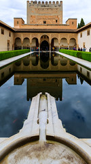 The Alhambra, Granada - Palacios Nazares - Palacio de Comares - Patio de los Arrayanes (Court of the Myrtles), view south to the Sala de la Barca (Hall of the Boat) and Torre de Comares (peripathetic) Tags: building beauty architecture canon buildings spain worldheritagesite espana alhambra moorish granada 5d palaces 2016 nasrid nazaries 5dmkiii 5dmk3 canoneos5dmk3