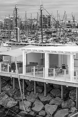 Sea Bar (archtkt) Tags: city travel sea urban bw white seascape black building tourism monochrome architecture modern facade contrast spain europe view perspective landmark front architectural destination elevation feature archtkt