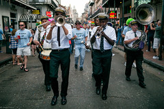 Jazz Band Leading the Way (michael.mu) Tags: leica musician 35mm louisiana neworleans streetphotography jazz parade frenchquarter bourbonstreet brassband m240 storyvillestompers colorefexpro leicasummicron35mmf20asph leicasummicronm1235mmasph