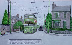 Sketch of a Wolverhampton Trolleybus in 1948 Pic/3 (Lady Wulfrun) Tags: 1948 sketch drawing corporation route service 13 trolleybus 219 wolverhampton terminus merryhill wct trolleybuses trysullroad jw4319
