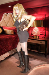 Do you like your job? :-) (Irene Nyman) Tags: red black cute girl leather boots lace working skirt velvet tgirl purse blonde boudoir stiletto hooker overknee pinstripe callgirl bodystocking