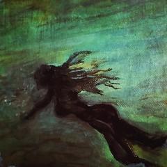 Swimming in secret (BLACK EYED SUZY) Tags: swim art acrylic painting girl swimming night