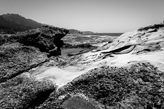 Point Lobos State Natural Reserve (Mark Visenio) Tags: ocean california park blue sky blackandwhite bw color reflection nature water clouds contrast point coast nikon rocks warm waves state pacific wide reserve wideangle cal lobos depth d600