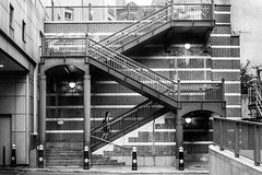 Zig zag (EyeOfTheLika) Tags: street city people white black london up lines triangles stairs photographer profile shapes streetphotography angles lika zigzag wpman streetbw 500px ifttt