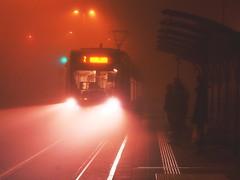 (Botond Pataki) Tags: street people orange mist black fog night lights tram human stop handheld lamps coming element