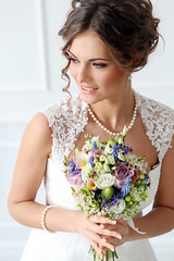 Wedding. Beautiful bride (xuanlocshop.com) Tags: flowers wedding portrait people woman white love church floral girl beautiful beauty smile face look smiling closeup female hair happy bride necklace engagement eyes pretty day looking married dress adult young makeup happiness curls latvia clothes celebration human mature mascara pearl bouquet bridal hairstyle elegance caucasian