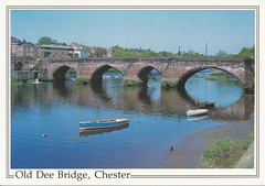 Photo of postcard of old Dee Bridge, Chester, England