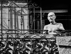 Watchful Eye (Dalliance with Light) Tags: street city portrait bw monochrome architecture cu havana cuba ironwork habana lattice balconey lahabana
