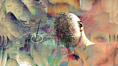 Remains / Artist : Mistero Hifeng (Bamboo Barnes - Artist.Com) Tags: blue light shadow red man texture face yellow umbrella photo mesh digitalart vivid surreal secondlife virtualart bamboobarnes sl13b