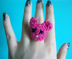 Pink Bear Crochet Ring (Mooy) Tags: cute animal crochet jewelry rings kawaii amigurumi mooeyandfrineds
