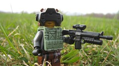 New Finnish Soldier (The Brick Guy) Tags: outside soldier lego vest custom visor m16 cyberpunk minifigure brickarms newfinland amazingarmory