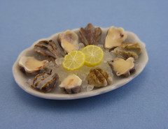 Oysters Platter (Shay Aaron) Tags: food fish dinner miniature handmade salmon crab prawns mini clam gourmet polymerclay fimo tiny deli seafood oysters appetizer mussel scallop crustacean 12th 112 luxury lux platter preparation dollhouse petit oneinchscale shayaaron scaleoneinch