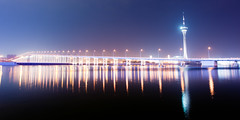 Torre de Macau (terencehonin) Tags: bridge reflection night landscape nikon torre view lisboa magic grand 24mm macau nikkor wynn mgm cpl   f14g  d700