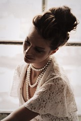Longing (David Swift Photography Thanks for 10 million view) Tags: windows portrait portraits lace pearls pearlnecklace lacedress davidswiftphotographer