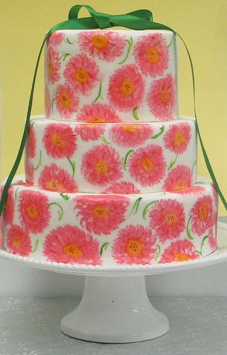 [Image from Flickr]:Painted Flower Wedding cake