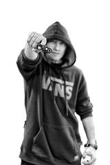 Baaaannggg!!!! (Raul Garcia Piñero) Tags: white man black men blancoynegro canon 50mm gun 14 sigma 5d vans chico bang hombre pistola macarra ganster pandillero 5dmarkll sigmalux