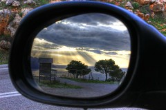 Sunset from my car's mirror. (Vagelis Pikoulas) Tags: blue trees light sunset sea sky sun mountain mountains reflection tree beach clouds canon landscape eos mirror spring kiss europe niceshot view greece porto 1855mm hdr x4 photomatix germeno 550d abigfave colorphotoaward mygearandme kithairwnas ringexcellence musictomyeyeslevel1