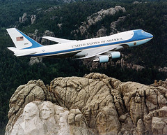 "AIR FORCE ONE OVER MT RUSHMORE--""IS THERE ROOM FOR ONE MORE?"" (roberthuffstutter) Tags: southdakota aircraft airforceone mtrushmore epa officialbusiness childlaborlaws farmchildren bailinghay cleanairact champagneflights eparegulations regulationsregulationsregulations"