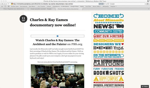 "January 11, 2012: Mimomito blog post about the screening of ""Eames: The Architect and The Painter"""