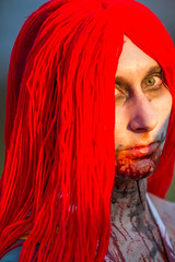 Zombie portrait (mfeingol) Tags: seattle red portrait hair zombie july fremont 2012 zombiewalk redwhiteanddead
