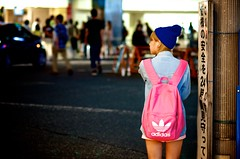 pretty in pink (sinkdd) Tags: pink blue girl japan tokyo nikon shinjuku 85mm backpack earphone  nikkor adidas  knitcap f18d streetsnap d7000 shutterlove nikond7000 sinkdd
