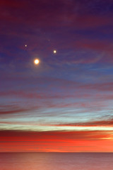 July 15th Conjunction (lrargerich) Tags: sky moon color reflection argentina sunrise river dawn twilight venus nightscape jupiter aldebaran conjunction july15 conjunctions twilightscape july2012 20120715