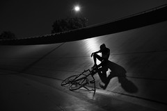 Exhausted (radityaman) Tags: bw bike bicycle silhouette canon indonesia gear jakarta fixed fixie sepeda