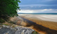Mouth of the Miners river Pictured Rocks National Lakeshore (Michigan Nut) Tags: sky usa lake beach creek river sand stream michigan upperpeninsula lakesuperior rivermouth picturedrocksnationallakeshore minersbeach geologicalformation michigannutphotography