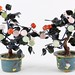 151. Pair of Chinese Hardstone Trees in Cloisonne Pots