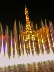 Paris Las Vegas seen through the fountains of Bellagio