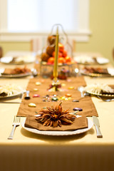Thanksgiving (Bjrnert) Tags: thanksgiving family flowers autumn orange fall dinner turkey table gold candles pumpkins delicious plates setting tablesetting autumnal tablerunner goldtones victoribc