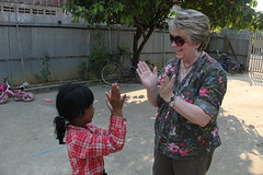 "Chris with the girl she sponsors at Kids Club Battambang <a style=""margin-left:10px; font-size:0.8em;"" href=""http://www.flickr.com/photos/46768627@N07/13295853524/"" target=""_blank"">@flickr</a>"