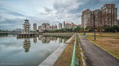 Tanjong Rhu Park (chaoticbusher) Tags: road park urban cloud reflection tower water lines skyline clouds river landscape photography grey evening nikon singapore soft exposure track raw image stadium stock reservoir route filter 09 lee single nd getty nikkor dslr fx leading condominium d800 dx 2014 tanjong rhu gnd 1024mm