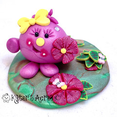 Lolly with Spring Flowers (KatersAcres) Tags: miniature handmade character polymerclay photostream whimsical polymer polyclay handsculpted katersacres storybookscene