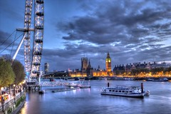evening along the thames (hecsas) Tags: sunset london londoneye housesofparliment