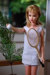 Francie Love (Emily1957) Tags: light fashion vintage toy toys nikon mod doll dolls barbie kitlens naturallight tennis mattel tennisracket tennisdress nikond40 straightlegfrancie